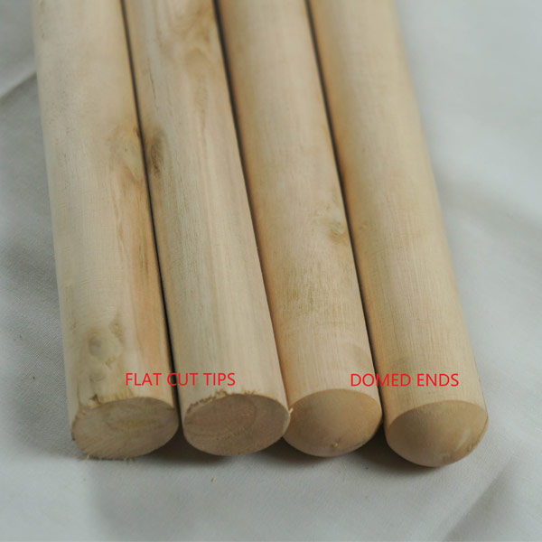 Sanded wood broom handles